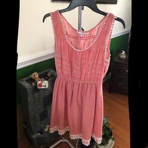 Peach Lace Detail Dress